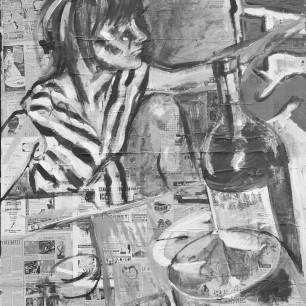 """SIGI"", collage / acrylic on cardboard, 120cm x 120cm, 2007"