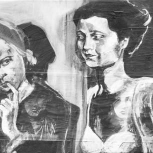 """Self Portrait"", collage / acrylic on canvas, 2004"