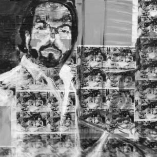 """Ambassador Rizzo"" collage / acrylic on canvas, 110cm x 80cm,  2012 (Rizzo-Alvarado Collection, Geneva)"