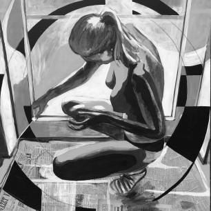 """Untitled"" , collage / acrylic on canvas / 100cm x 100cm, 2017"