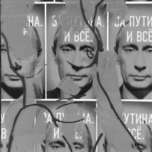 """Nude on Putin"", collage / acrylic on canvas / printed plexiglass, 50cm x 100cm, 2012"