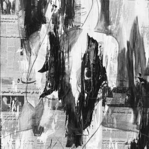 """Lena"", acrylic and crayon on collage, 70cm x 100cm, 2013"