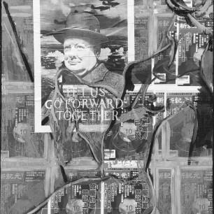 """""""Nude on Churchill"""", collage / acrylic on canvas, 50cm x 100cm, 2017"""