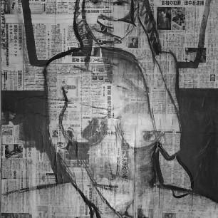 """""""Asian Lena"""", acrylic on collage, 70cm x 100cm, 2013"""
